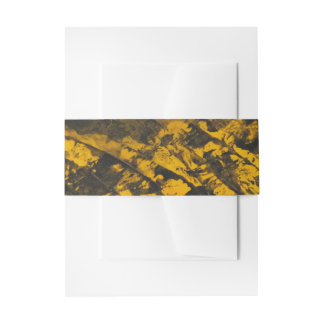 Black Ink on Yellow Background Invitation Belly Band