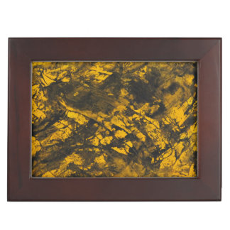 Black Ink on Yellow Background Keepsake Box