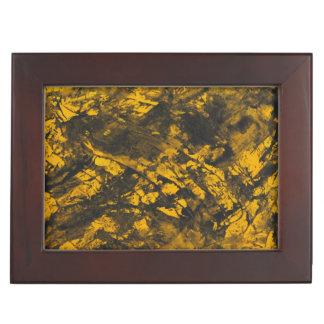 Black Ink on Yellow Background Keepsake Box