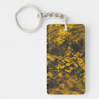 Black Ink on Yellow Background Keychain