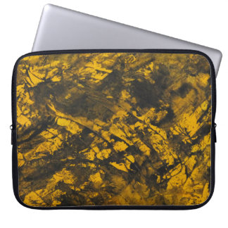 Black Ink on Yellow Background Laptop Sleeve