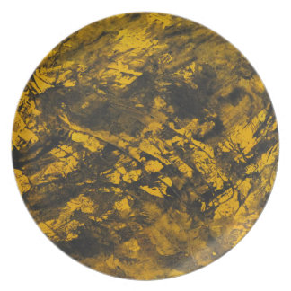 Black Ink on Yellow Background Plate