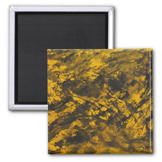 Black Ink on Yellow Background Square Magnet