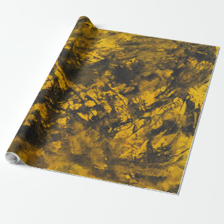 Black Ink on Yellow Background Wrapping Paper
