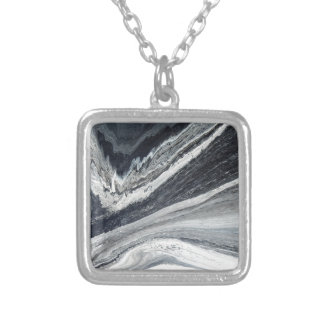 Black Ink Silver Plated Necklace