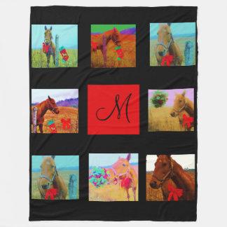 black Instagram pictures custom collage monogram Fleece Blanket