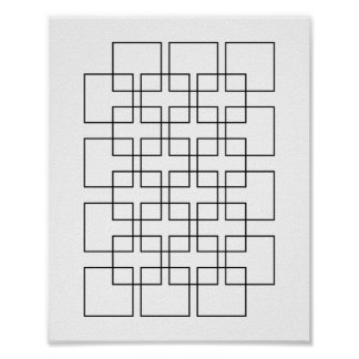 Black Interlocking Squares Geometric Print