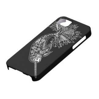 Black iPhone case with hand drawn Narwhal Whale