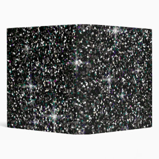 Black iridescent glitter 3 ring binders