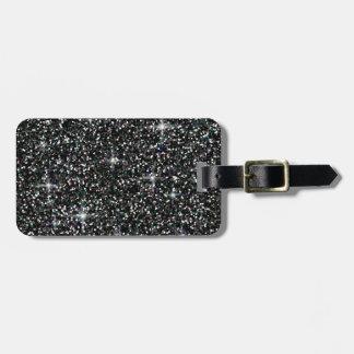 Black iridescent glitter bag tag