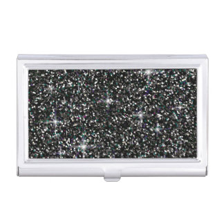 Black iridescent glitter business card holder