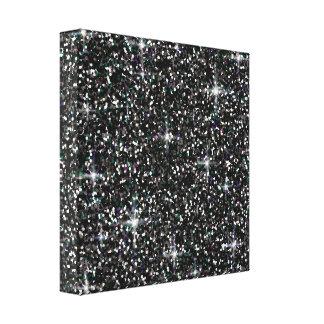 Black iridescent glitter canvas print