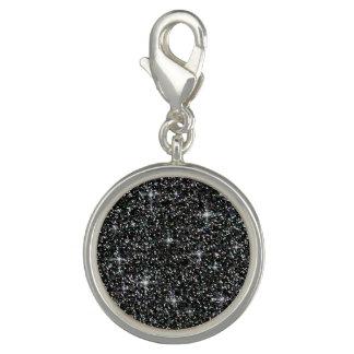 Black iridescent glitter charm