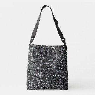 Black iridescent glitter crossbody bag