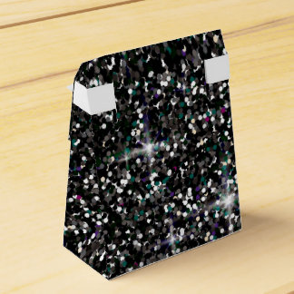 Black iridescent glitter favor box