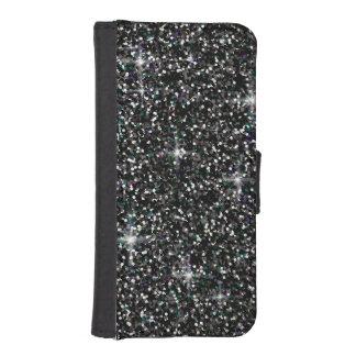 Black iridescent glitter iPhone SE/5/5s wallet case