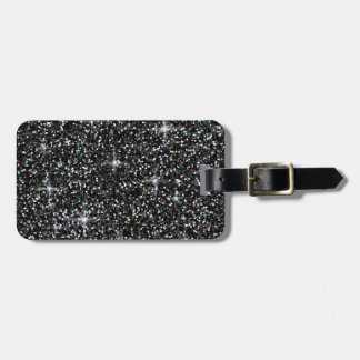 Black iridescent glitter luggage tag