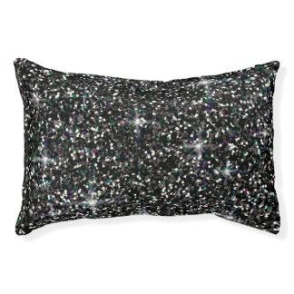 Black iridescent glitter pet bed