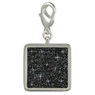 Black iridescent glitter photo charm