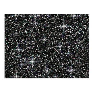 Black iridescent glitter postcard