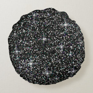Black iridescent glitter round pillow