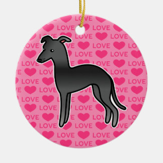 Black Italian Greyhound Love Ceramic Ornament