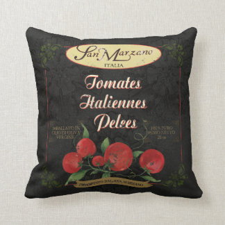Black Italian Retro Look Tomato label Art Pillow