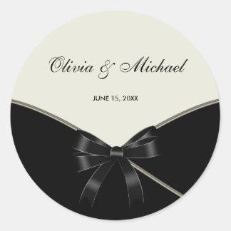Black Ivory Cream Wedding Favor Label Stickers