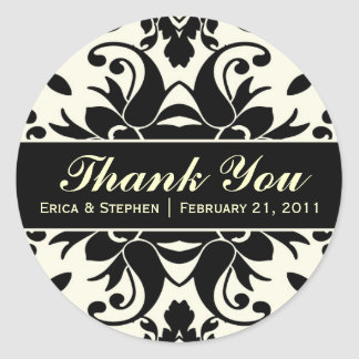 Black & Ivory Damask Inspired Customizable Sticker