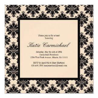 Black & Ivory Damask Invitation