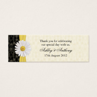 Black, Ivory, Gold Daisy Wedding Favor Tags