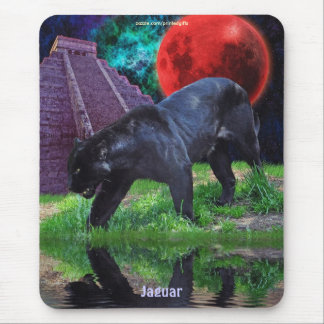 Black Jaguar & Chichen Itza Temple & Lunar Eclipse Mouse Pad