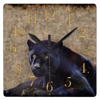 Black Jaguar, Rustic Grunge BG Wildlife Wall Clock