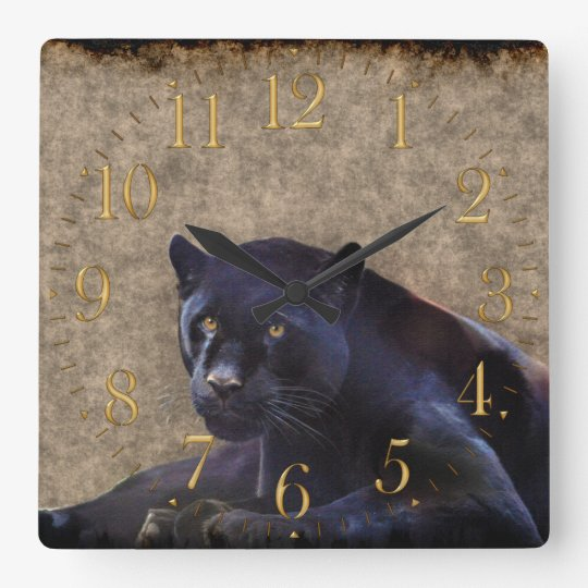 Black Jaguar, Rustic Grunge BG Wildlife Wall Clock