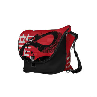 Black Japanese Dragon Red Background Commuter Bags