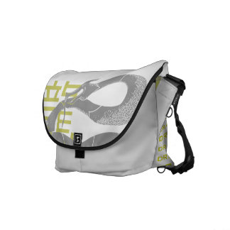Black Japanese Dragon White Background Messenger Bag