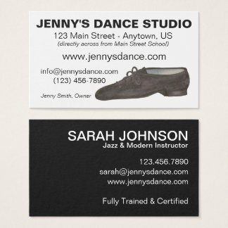 Black Jazz Dance Shoe Studio Teacher Choreographer Business Card