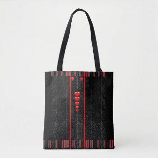 Black Jean Hearts Tote Bag