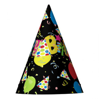 Black Joyous Happy Birthday Party Hat
