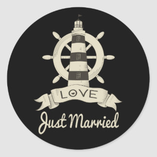 Black Just Married Nautical Tan Lighthouse Wedding Classic Round Sticker