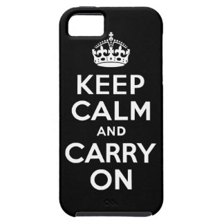 Black Keep Calm and Carry On Case-Mate Case iPhone 5 Case
