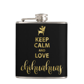 Black Keep Calm And Love Chihuahua Vinyl Flask 6oz