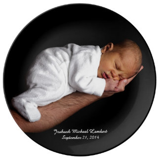 Black Keepsake Custom Baby Photo Plate