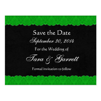 Black Kelly Green Lace Save Date Wedding 02 Postcard