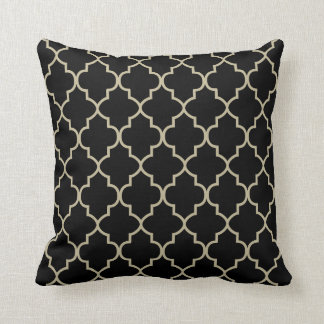 Black & Khaki  Quatrefoil Design Throw Pillow