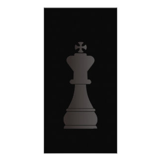 Black king chess piece custom photo card