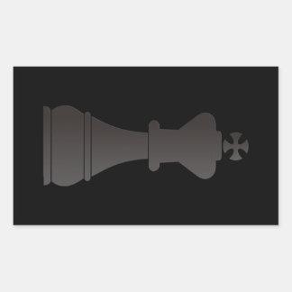 Black king chess piece rectangular sticker