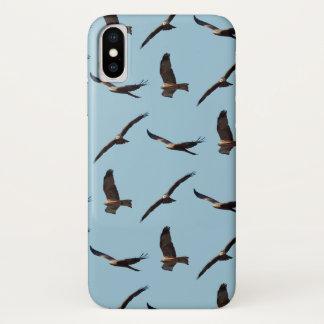 Black Kite Frenzy iPhone X Case (Light Blue)