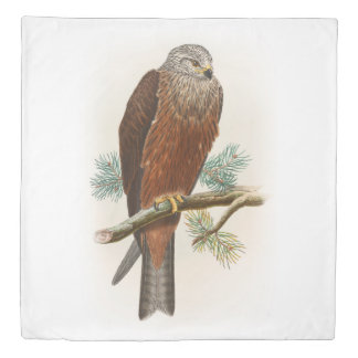 Black Kite Hawk John Gould Birds of Great Britain Duvet Cover
