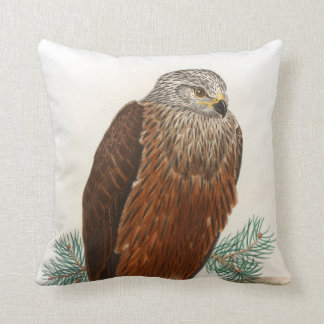 Black Kite Hawk John Gould Birds of Great Britain Throw Pillow